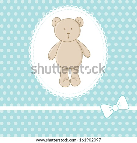 Cute vector illustration. Little toy teddy bear, white lace, bow, blue background with polka dot. Ideal for baby shower invitation card, boys birthday card, etc. - stock vector