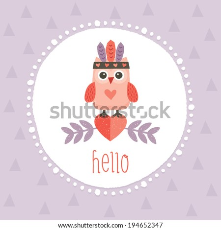 Cute vector illustration with sweet little hipster owl in native American feather headdress, for cards, posters, postcards. - stock vector