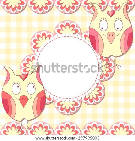 Cute vector owl photo frame. Baby shower card. Scrapbook elements. Vector illustration. - stock vector