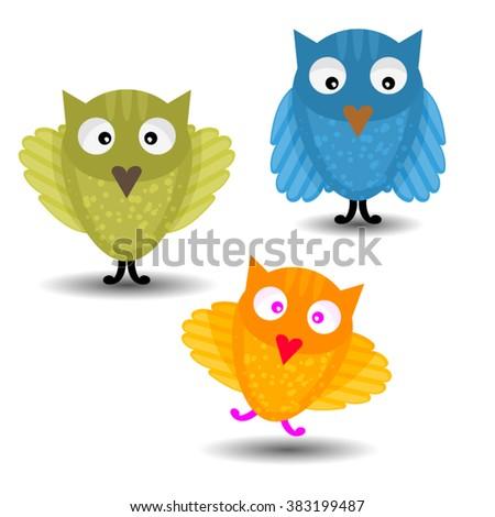 Cute vector owls character set. Cute and adore vector Bright Owls set - stock vector