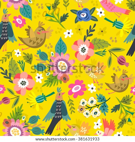 Cute vector pattern of birds and leaves. Endless background. Lovely seamless pattern. Vector backdrop. Summer template. Use for wallpaper,pattern fills, web page background. - stock vector