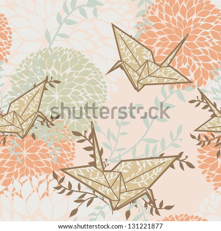 cute vector seamless background with origami cranes and floral ornament - stock vector