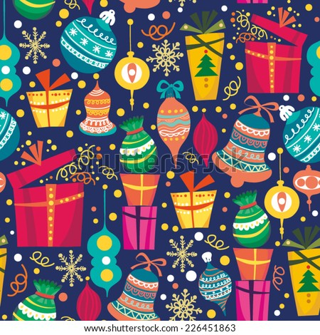 Cute vector seamless pattern of gift boxes. - stock vector