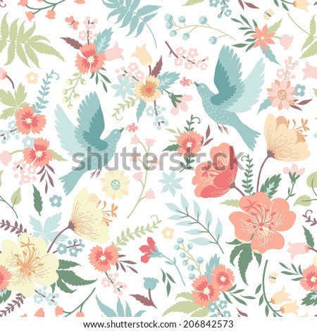 Cute vector seamless pattern with birds and flowers in pastel colors. - stock vector