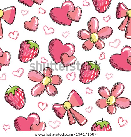 cute vector seamless pattern with romantic elements - stock vector
