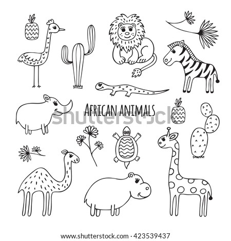 Cute vector set of africa animals in cartoon style. Black and white sketch.  Hippo, lizard, Rhino, cactus, ostrich, lion, giraffe, camel, Zebra, turtle. - stock vector
