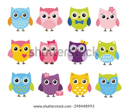 Cute vector set of colorful owls - stock vector