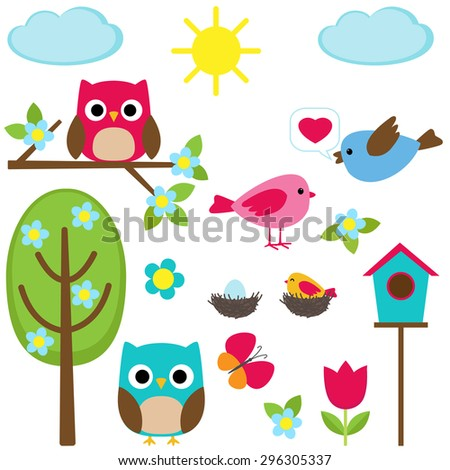 Cute vector set of different spring elements - stock vector