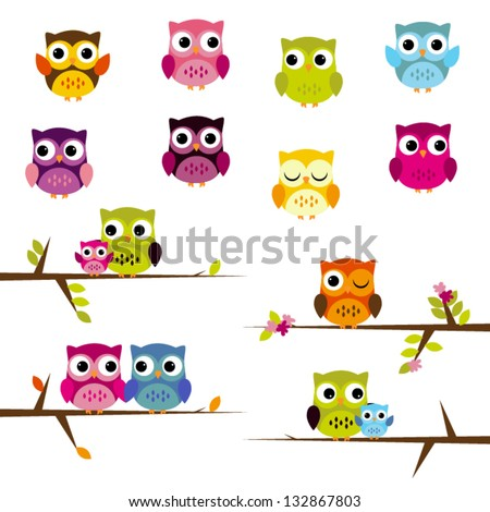 Cute Vector Set of Owls - stock vector
