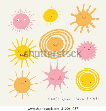 Cute vector set of SUN icons. Funny happy smiley suns. Happy doodles for your design. Bright and beautiful cartoon characters. - stock vector
