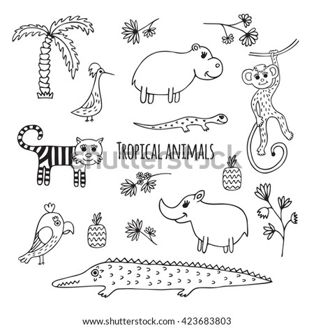 Cute vector set of tropical animals in cartoon style. Black and white sketch.  Hippo, lizard, Rhino, crocodile, monkey, tiger, Toucan, parrot. - stock vector