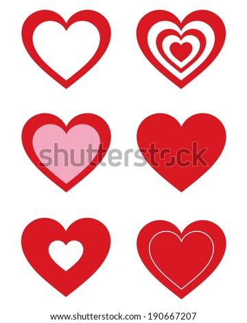 Cute vector Valentines Day heart icon and frame set - stock vector
