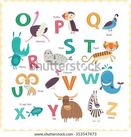 Cute vector Zoo alphabet with animals in cartoon style. Part 2. - stock vector