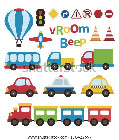cute vehicle collection. vector illustration - stock vector