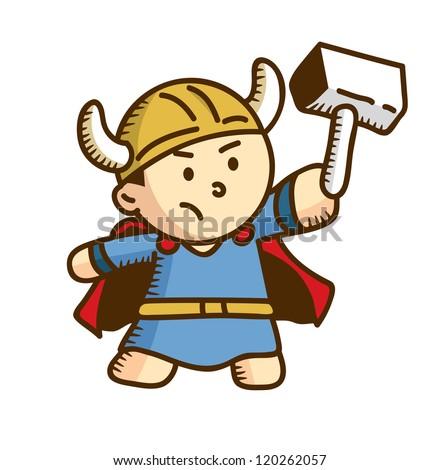 cute viking cartoon - stock vector