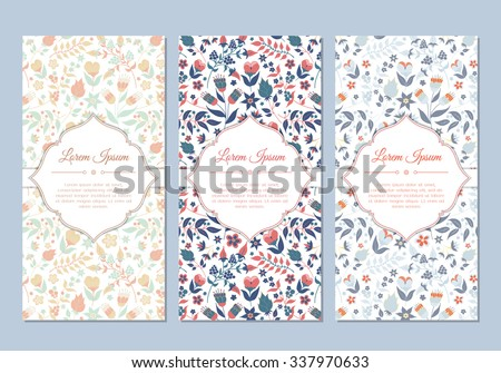 Cute vintage doodle floral cards set for invitation, label, banner, wedding, party, baby shower, hen-party, mother's day, valentine. Beautiful background with gentle flowers and leaves. Vector - stock vector
