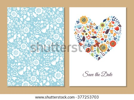 Cute vintage floral cards set. Heart shape with flowers and leaves. Beautiful background Cards for greeting, invitation, wedding, party, hen-party, baby shower, mother's day, valentines. Gentle vector - stock vector