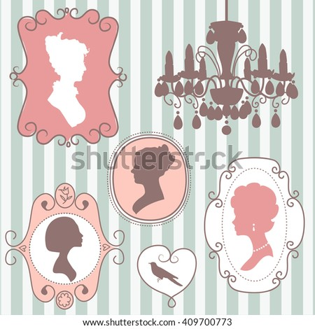 Cute vintage frames with ladies silhouettes, mothers day card - stock vector