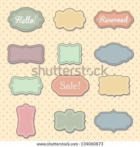 CUte vintage looking labels - stock vector