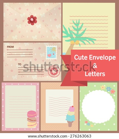 cute vintage pastel letters and envelope paper stationery template - stock vector