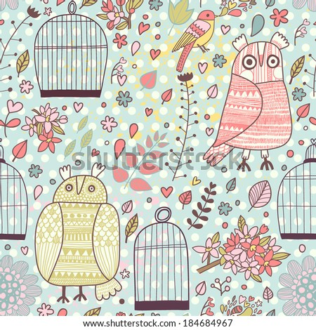 Cute vintage seamless pattern with birds, owls, cages, flowers and blooming trees. Spring romantic vector background. - stock vector