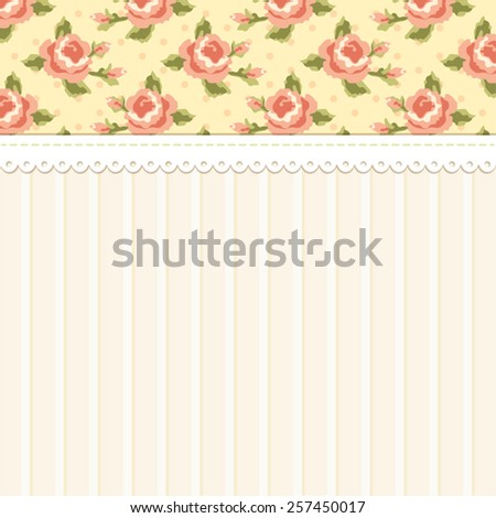 Cute vintage shabby chic background with roses ideal for wedding, bridal or baby shower invitation, album cover, retro cards or wallpapers - stock vector