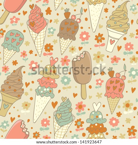 Cute vintage summer seamless pattern with tasty  ice cream and flowers. Delicious desserts vector background. You can use it in birthday decoration, web design, fashion design. - stock vector