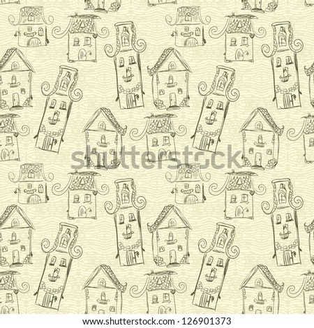 Cute wallpaper with fun hand-drawn houses, seamless - stock vector