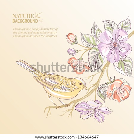 Cute watercolor bird. Vector illustration, contains transparencies, gradients and effects. - stock vector