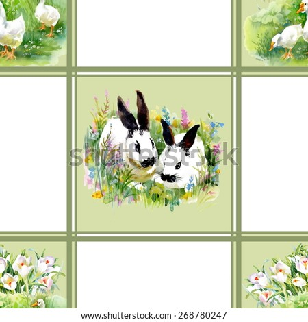 Cute watercolor hares with ducks seamless pattern background vector illustration - stock vector