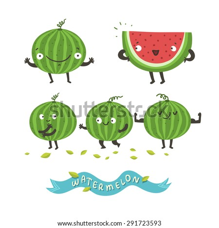 Cute watermelon cartoon characters and  quot Watermelon quot  ribbon  Vector    Watermelon Cartoon Characters