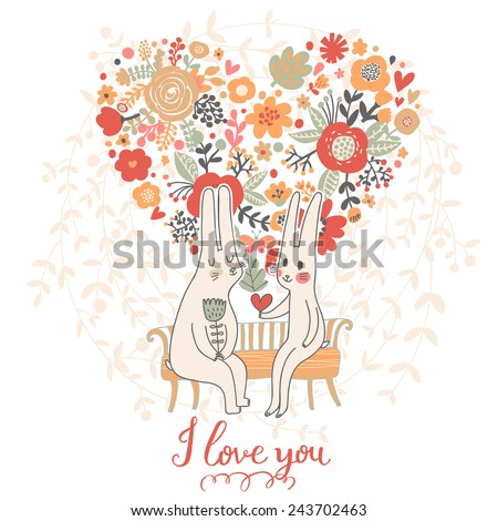 Cute wedding card with rabbits in love. Vector romantic invitation. Valentines day cartoon background - stock vector