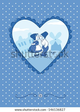 Cute wedding invitation card (Delft blue-style). EPS 10. No transparency. No gradients. - stock vector