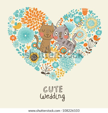 Cute wedding invitation with cats and bid flowers heart - stock vector