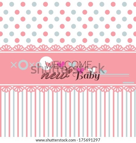 Cute welcome baby shower - stock vector