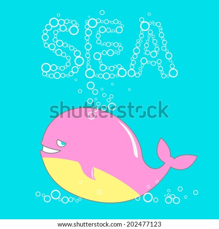 cute whale and bubbles - stock vector