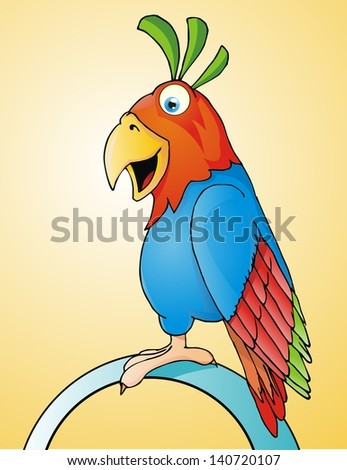 Cute Whale parrot. Vector illustration - stock vector