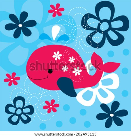 cute whale with flowers vector illustration - stock vector