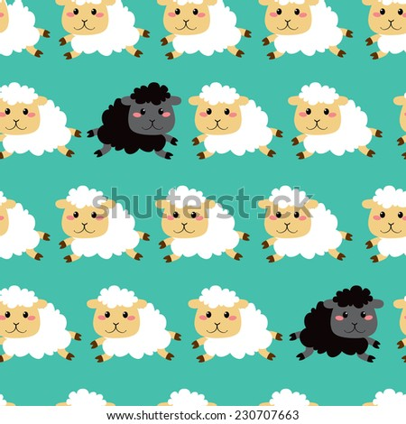 Cute white and black sheep running seamless pattern background design - stock vector