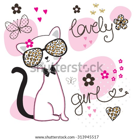 cute white cat with glasses, T-shirt design vector illustration - stock vector