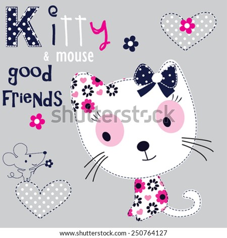 cute white cat with mouse vector illustration - stock vector