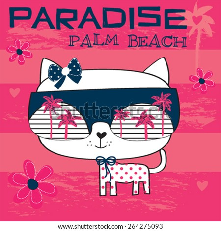 cute white cat with sunglasses on the beach, T-shirt design vector illustration - stock vector