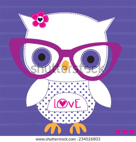 cute white owl with glasses striped background vector illustration - stock vector