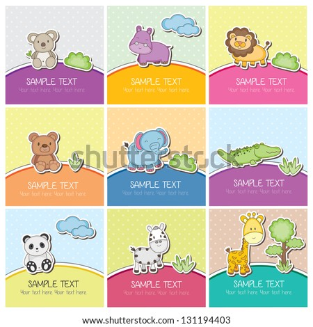 cute wild animals cards - stock vector