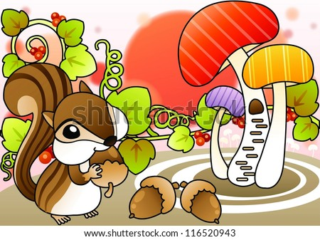 Cute Wild Squirrel and Beautiful Landscape - eating delicious nuts with a happy young squirrel in romantic garden on a white background : vector illustration - stock vector