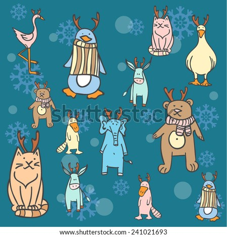 Cute winter animals wearing deer horns on snowflakes background. - stock vector