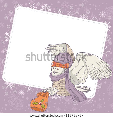 Cute winter Christmas card of an owl in a hat holding a sack of presents - stock vector