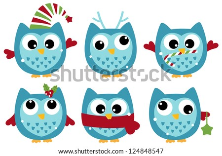 Cute winter owl collection isolated on white - stock vector