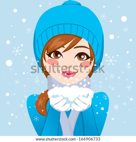 Cute woman in blue winter hat and warm clothing holding snow with hands close to her face blowing snowflakes softly - stock vector
