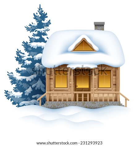 Cute wooden house in snow. Vector image. - stock vector